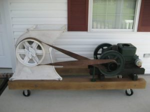 Gas engine powered ice crusher used to crush 300 lb. blocks of ice for shrimp boats